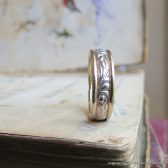 Yellow and White Gold Art Nouveau Style Wedding Band