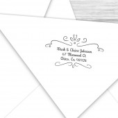 Custom return address stamp with swirly border