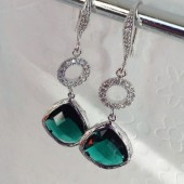 bridal teal earrings