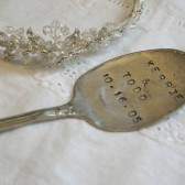 Vintage Silverware Hand Stamped Weddinng Cake Topper Personalized