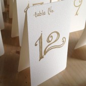 Wedding Table Number Tents Gold