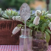 Vintage Silverware Hand Stamped Tablespoon Table Numbers Markers