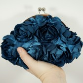 Teal ribbon flower clutch