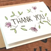 floral illustrated thank you card