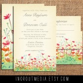 Rustic wedding invitations - The Meadow - flowers, floral