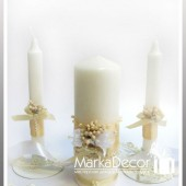 Unit Set of 3 Candles in Ivory with Handmade Decorations