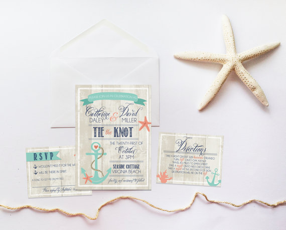 Tie the Knot Nautical Wedding Invitation