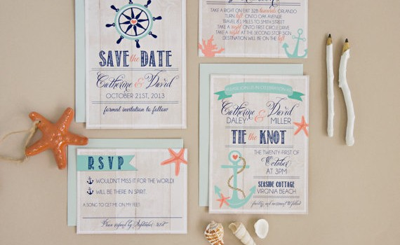 tie the knot nautical invitation
