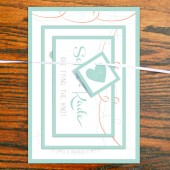 Shabby chic wedding invitation suite in mint & coral, with layers. Complete invite package for the DIY bride.