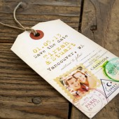 Passport Stamp Save the Date Tag