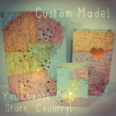 Wedding Centerpiece Travel Themed Map Luminary Bags