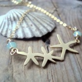 Gold Starfish Necklace With Crystal