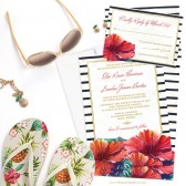 Tropical Hibiscus Wedding Invitations by The Spotted Olive