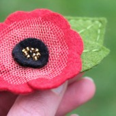 Fancy Felt Poppy Flower Clip