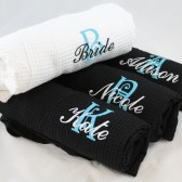 Personalized Robe Bridesmaid waffle weave kimono style robe monogrammed embroidered with intial & name