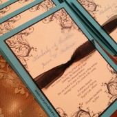 Turquoise and Black Wedding Invitation