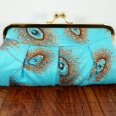 Turquoise and gold peacock sequin clutch