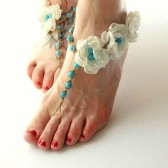 something-blue-wedding-barefoot-sandals, tiffany, beach-wedding-footwear, bridesmaids, roses