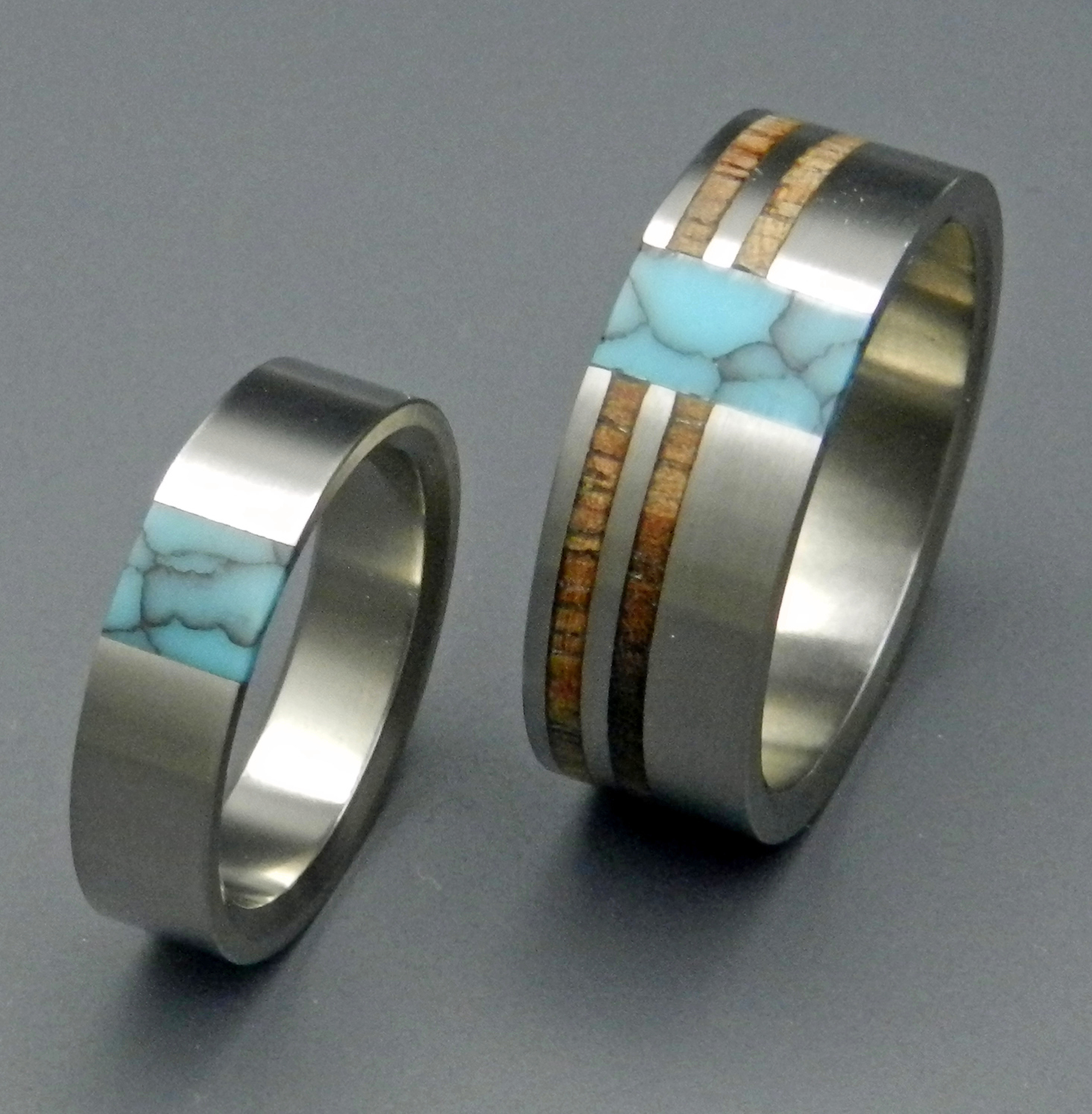 comet and constellation turquoise wedding titanium rings - Turquoise Wedding Rings