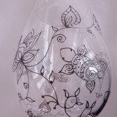 Custom wine glass set. Wedding glassware.Hand painted henna style turtle & flower designs, crystal glass, dishwasher safe option to personalize
