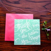 Bridal shower thank you cards from the future Mrs. are sweet, square, & glam
