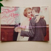 Thank you cards with vintage calligraphy hand drawn lettering with the wedding couple's photograph. Vintage and cute. DIY or printed.
