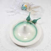 Turquoise birds ring holder