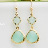 mint dangle earrrings