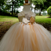 Rustic gold champagne flower girl tutu dress