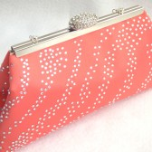 Coral and Champagne Bridal Clutch