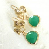 green glass and leaf earrings