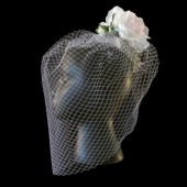 Birdcage Veil w/ Rose Fascinator