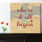 map canvas with heart in location you met