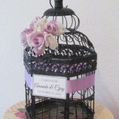 Victorian Black Wedding Card Holder with Lace and Pearls