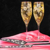 Vineyard wedding Cake server and knife, champagne flute set