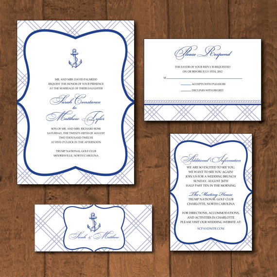 Vintage Anchor Wedding Invitation Handmade Wedding Emmaline Bride