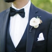 boutonniere, groom, groomsmen, wedding party, wedding flowers, sola flowers, curious floral