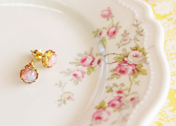 Vintage Pink Opal Earrings (by Dondalee's via EmmalineBride.com - The Marketplace) #handmade #earrings