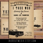 Rustic Wedding Invitations with Vintage Car