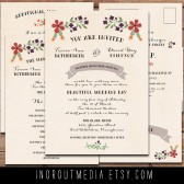 Illustrated Rustic Floral Invitation suite