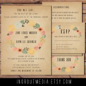 Vintage Floral Wreath Invitation Suite