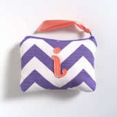 Violet and Coral Personalized Monogram Makeup Bag