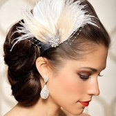 Vivian - ivory bridal headpiece, feather fascinator, bridal hair clip