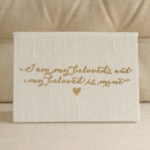 Vow Holder - Song of Solomon 6:3 Scripture - Gold Foil Silk Folio Keepsake - Vow Book