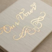 Vow Keepsake Gift - Our Vows Script and Calligraphic Flourish Gold Foil Silk Folio Keepsake - Vow Book - Wedding gift