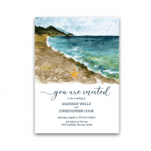 The seaside wedding invitation has a hand painted watercolor beach, a dreamy ocean in teals and aquas and a starfish celebrating your love. Furthermore, super modern typography completes the design, which is just one of a kind beautiful. Moreover, there are many coordinating pieces to this collection- all inspired by the beauty of the sea.