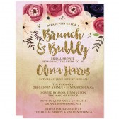 Watercolor Floral Brunch & Bubbly Bridal Shower Invitations by The Spotted Olive