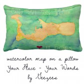 Watercolor Map on Pillow