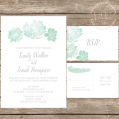 Watercolor Succulent Wedding Invitation