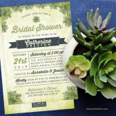 Watercolor Succulents Bridal Shower Invitations by The Spotted Olive